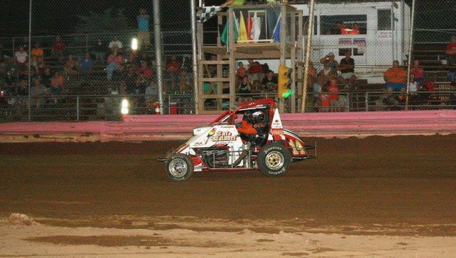 Trevor Kobylarz pulls away for a win Friday night at Linda's Speedway.