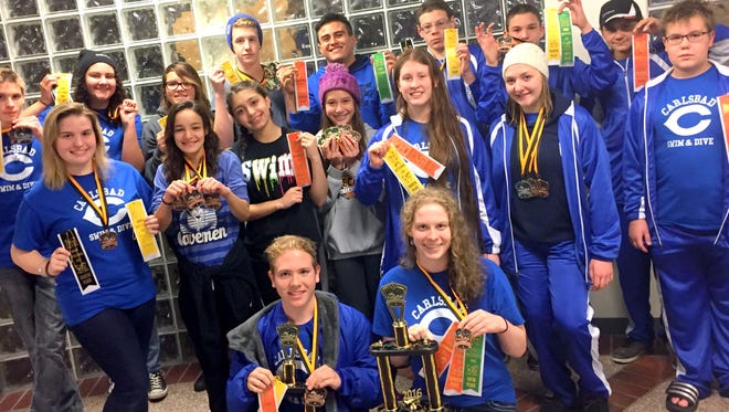 Carlsbad's swim teams both came in third overall Saturday at the Hobbs Invitational.