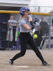 Lakeview's Chloe Baum (4) gets a base hit during Wednesday night's matchup against the Pennfield Panthers.