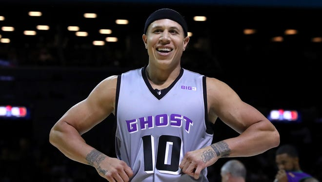 Mike Bibby #10 of the Ghost Ballers smiles in the game against the 3 Headed Monsters during week one of the BIG3 three on three basketball league at Barclays Center on June 25, 2017 in New York City.