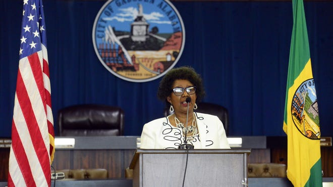 Gadsden City Council president Cynthia Toles speaks during a press conference encouraging mask use on Thursday, July 9.