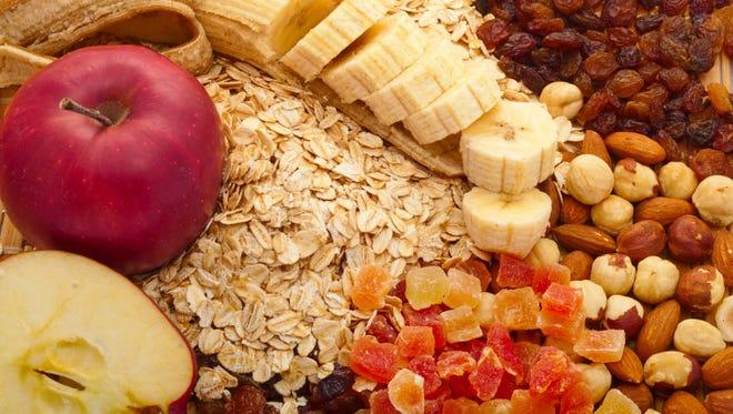 grits with apples, bananas, raisins,