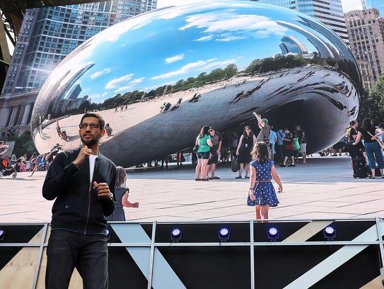 Google CEO Sundar Pichai speaks during Google I/O 2016.