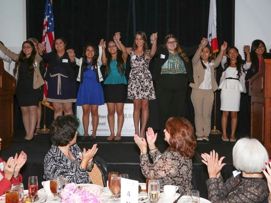 The 10 students who were announced as scholarship winners at the Women Leaders Forum of the Coachella Valley event.