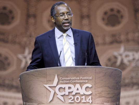 Susan Walsh — The Associated Press — File File- This March 8, 2014, file photo shows Dr. Ben Carson, professor emeritus at Johns Hopkins School of Medicine, speaking at the Conservative Political Action Conference annual meeting in National Harbor, Md. Carson, a retired neurosurgeon turned conservative political star, has confirmed that he will seek the Republican presidential nomination in 2016. Carson announced his candidacy during an interview aired Sunday, May 3, 2015, by Ohio's WKRC television station.