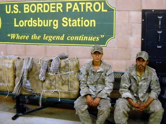 Courtesy Photo   Two Mexican Nationals were captured attempting to cross into the United States carrying backpacks filled with marijuana bundles near Lordsburg, N.M.