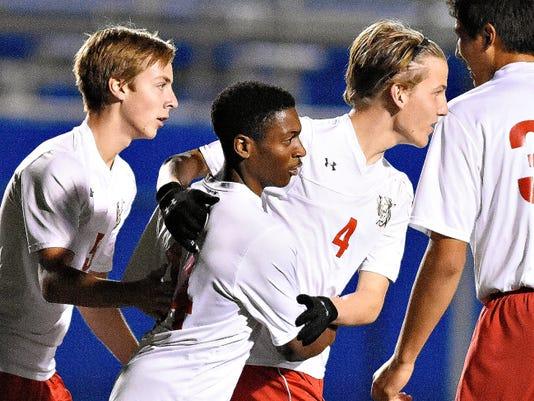Susquehannock players celebrate after a goal vs. Bermudian Springs in a District 3-AA boys' soccer quarterfinal at Papermakers Stadium in Spring Grove last Thursday. The Warriors lost to Gettysburg on Monday night in a semifinal battle at Northeastern, 3-0.