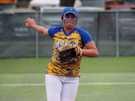 LaSalle pitcher Keeley Parham (12) fires a pitch against