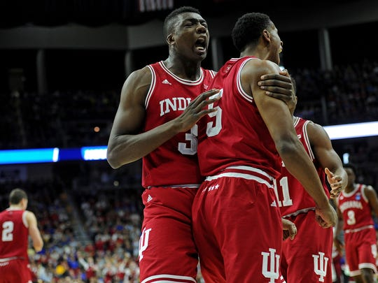 MHoosiers center Thomas Bryant (31) celebrates with