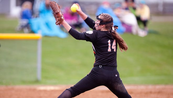 Middlebury pitcher Payton Buxton fires to the plate for a South Burlington batter during Tuesday's high school softball game in South Burlington.