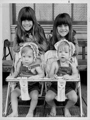 """In front, from left, are Brenda and Wendi Turnbaugh at 9 months old. The pair played the part of baby Grace Ingalls on """"Little House on the Prairie"""" and will appear at Genesee Country Village and Museum's Wilder Weekend. Behind them, from left, are Lindsay and Sidney Greenbush, who played Carrie Ingalls on the popular TV show."""