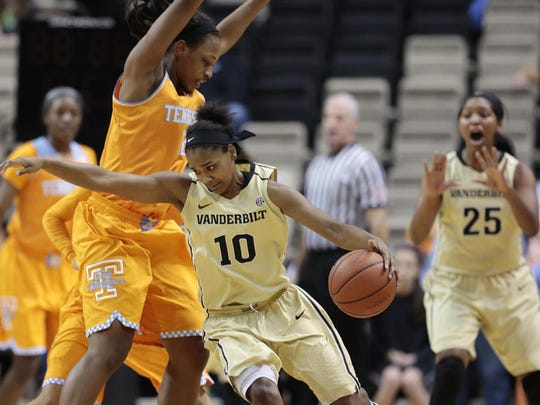 Lenape grad Christina Foggie (right) averaged an SEC-leading 19 points for Vanderbilt in her final season in 2013-14. Foggie graduated in May with a degree in human and organizational development.
