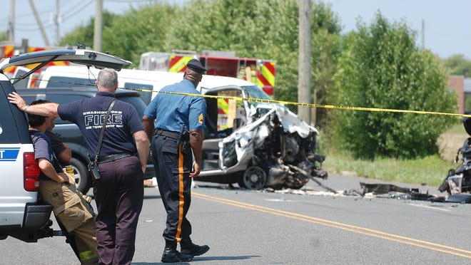 Police respond to the scene of a fatal accident on Fries Mill Road in Washington Township on Monday afternoon.