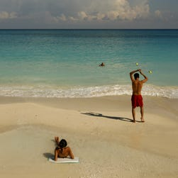 People on the beach in Cancun, Mexico.