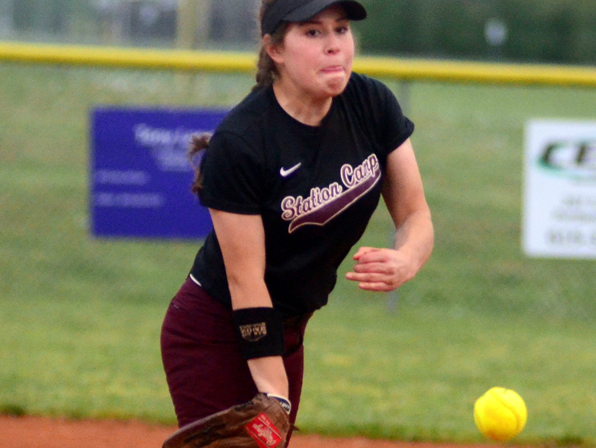 Station Camp High freshman Gabby Sarabia delivers a second-inning pitch during Tuesday evening's game at Portland.