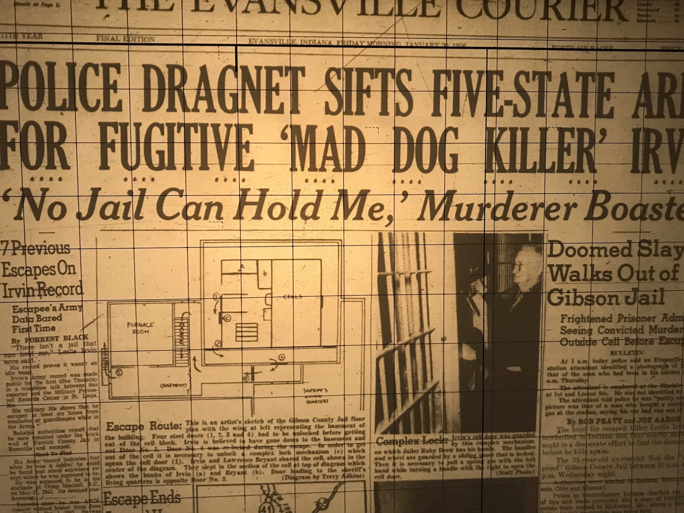 The front page of the Jan. 20, 1956 edition of the Evansville Courier. The escape of Leslie Irvin from the Gibson County Jail consumed the whole front page that day.
