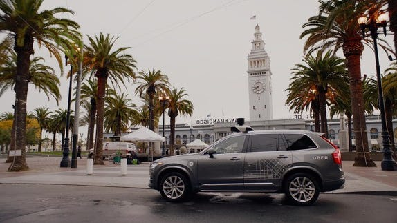 A Volvo XC90 equipped with Uber's prototype self-driving system in San Francisco.