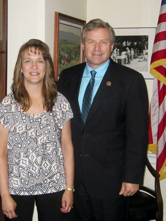 Tina Blake, who is employed by Sodexo at StoneRidge Retirement Living in Myerstown, is pictured with Congressman Charlie Dent, who represents the 15th District. Blake was named a winner of the Heroes of Everyday Life award by the Sodexo Foundation.