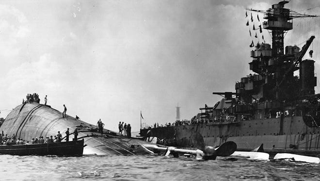 The USS Oklahoma was berthed on Battleship Row when the Japanese attacked Pearl Harbor and within 12 minutes the ship capsized, trapping more than 400 men. The death toll on the Oklahoma was second only to the 1,177 men killed on the USS Arizona.