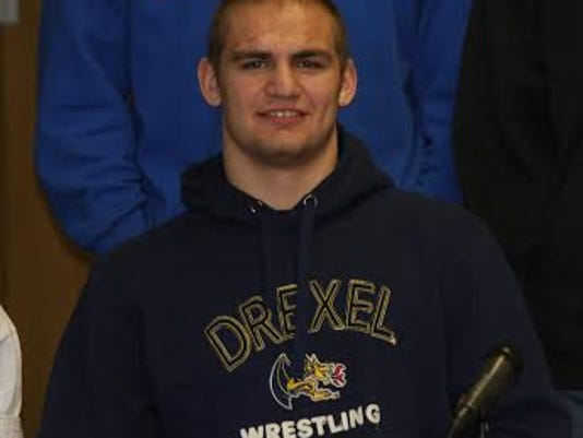 Joey Goodhart dons his Drezel apparel at Hempfield's signing day. (Photo courtesy of the Goodhart family)