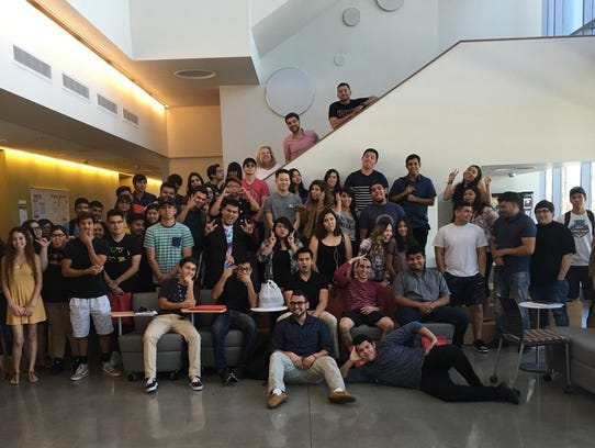 A group of EDGE students gather at the Indio campus.