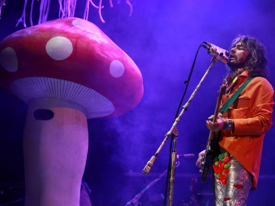 Wayne Coyne, the lead singer, guitarist and songwriter for the Flaming Lips, performs during the 2015 Cumbre Tajin music festival in Papantla, Mexico.