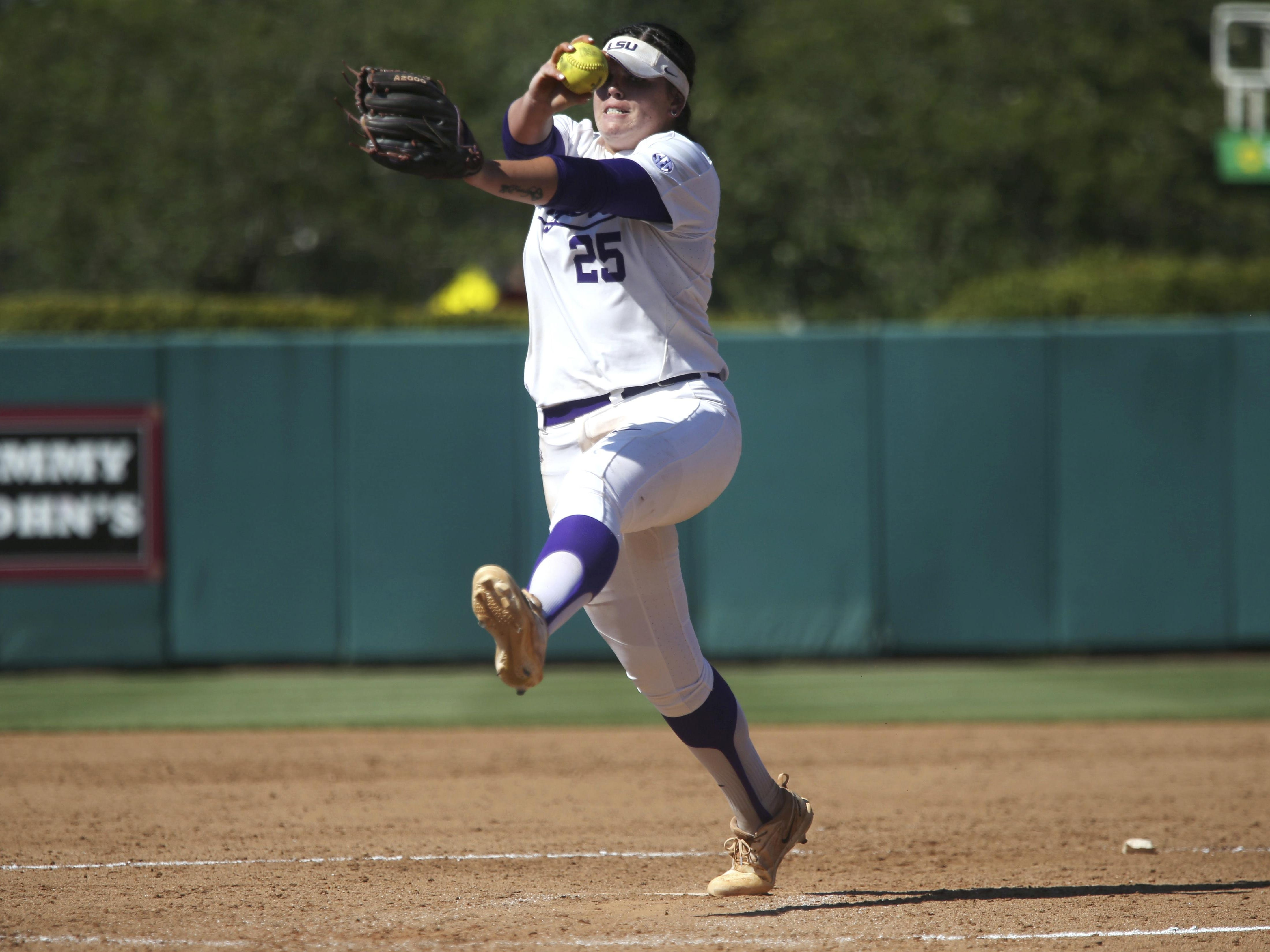 LSU's Allie Walljasper suffered the loss as the Lady Tigers fell out of the WCWS on Saturday.