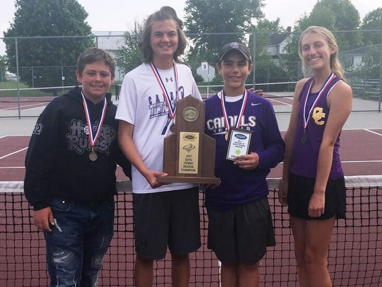 Campbell County tennis players, from left, Chris Fox,