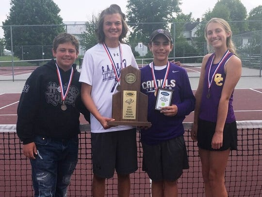 Campbell County tennis players, from left, Chris Fox, Noah Bertsch, Anderson McDowell and Natalie Smith after the 10th Region Tournament.