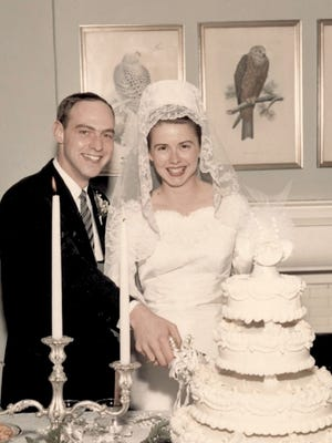 Tony and Carol Grantz are shown at their wedding reception April 30, 1966 at the Peterson-Dumesnil House in Crescent Hill.