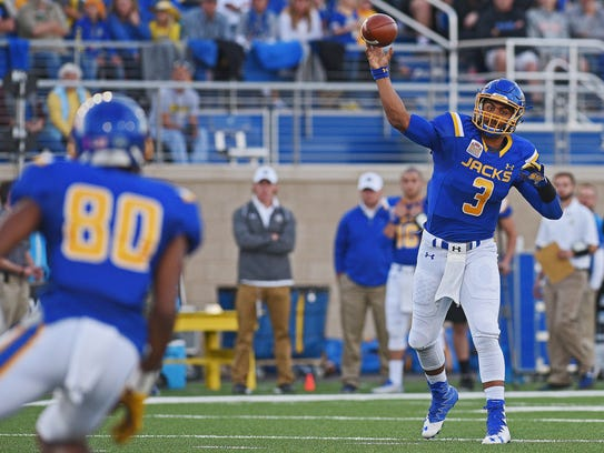 SDSU's Taryn Christion (3) throws a pass during a game