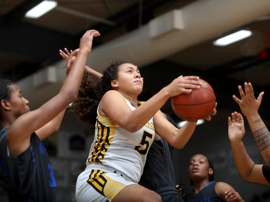 Enterprise's Jadyn Matthews goes up for a shot Wednesday in her team's state playoff victory over Oakland.