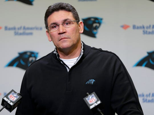 Carolina Panthers head coach Ron Rivera speaks during a news conference in Charlotte, N.C., Tuesday, Jan. 9, 2018. The Panthers have fired offensive coordinator Mike Shula and quarterbacks coach Ken Dorsey two days after a playoff loss to the New Orleans Saints. (AP Photo/Chuck Burton)