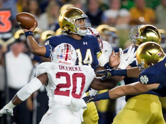 Notre Dame Fighting Irish quarterback DeShone Kizer