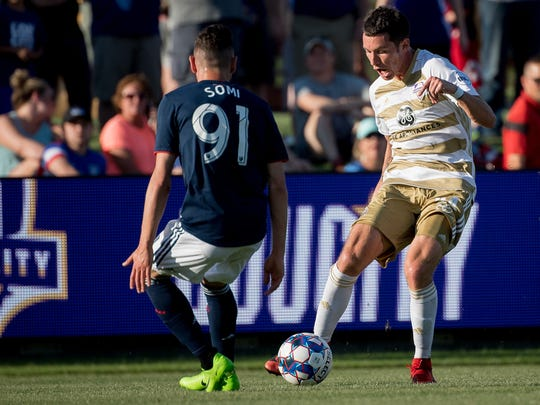Louisville City FC midfielder Kyle Smith (24) plays