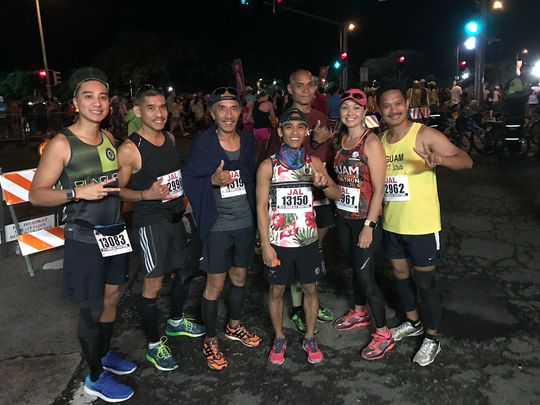 Several runners from Guam ran the Honolulu Marathon on Dec. 11. From left Josh Tyquiengco, Paul Cruz, Peter Blas, Ryan Matienzo, Leo Tkel, Yuka Hechanova and Manny Hechanova before the start of the Honolulu Marathon.
