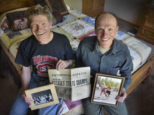 Retiree brothers Dick, left, and Jim Glatzmaier of Avon are pretty much inseparable. They still live together, they've biked more than 50,000 miles together, they've run a bunch of marathons and even drive the same make, model, and color of car.