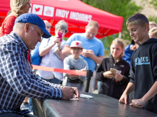 File: Ryne Sandberg signs autographs at Indianapolis Indians game at Victory Field.