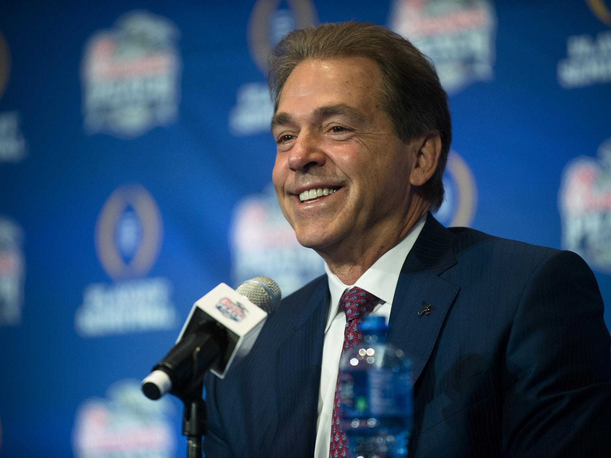 Alabama head coach Nick Saban speaks during the coaches press conference on Friday, Dec. 30, 2016, in Atlanta, Ga., for the Peach Bowl.