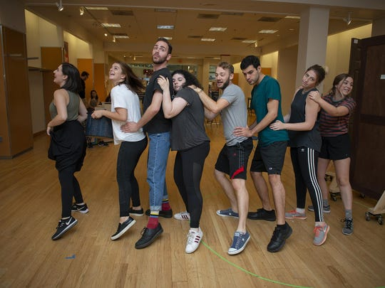 """Actors rehearse for the Hangar Theatre Company's KiddStuff production of """"Snow White."""""""