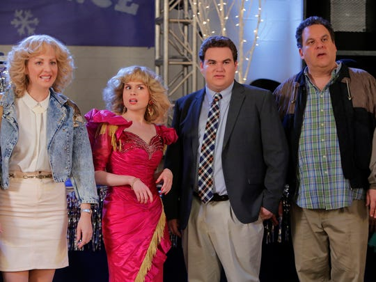 "Wendi McLendon-Covey, left, Allie Grant, James Garlin and Jeff Garlin on ""The Goldbergs."""