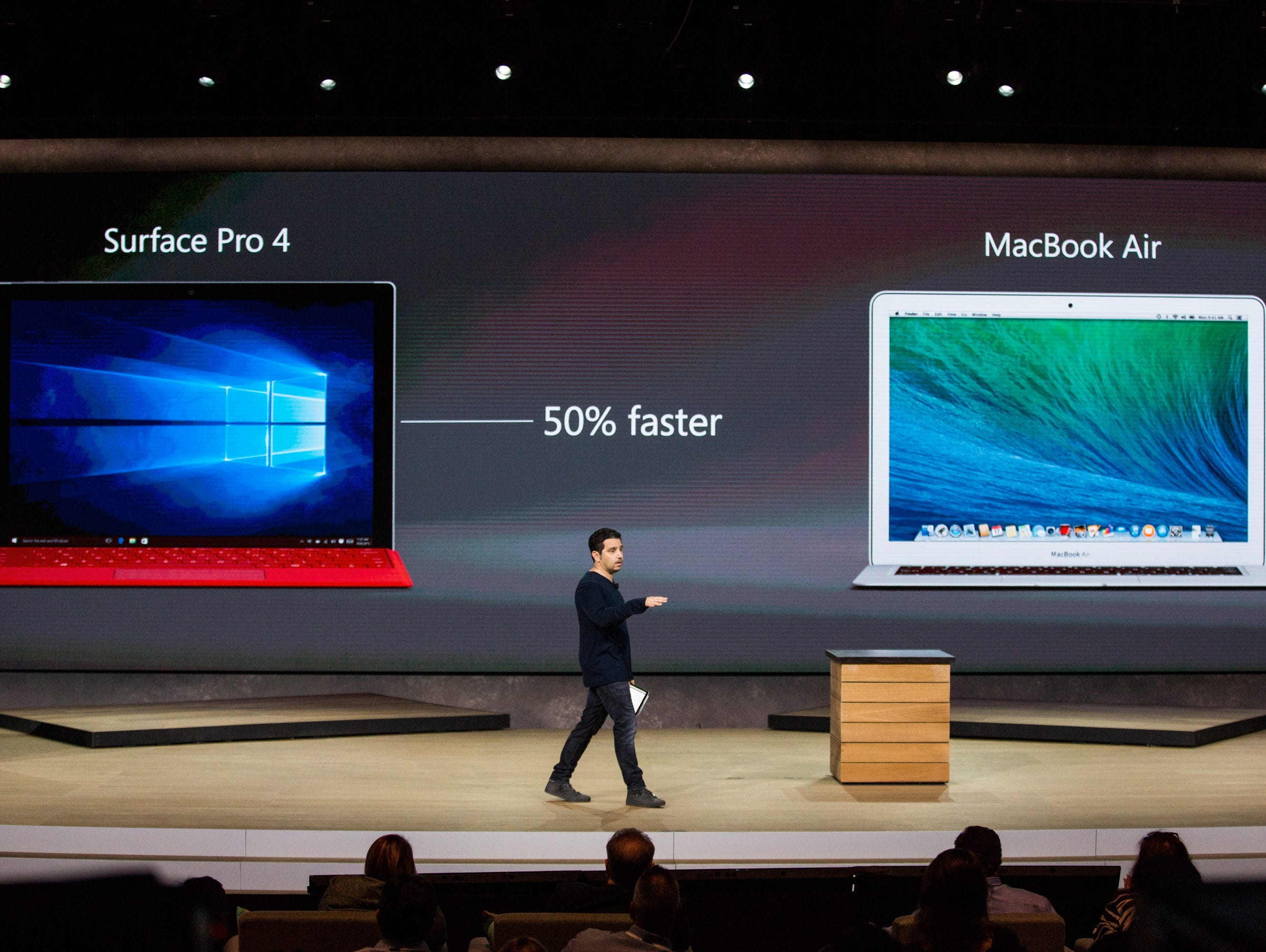 Microsoft Corporate Vice President Panos Panay introduces a new tablet titled the Microsoft Surface Pro 4 at a media event for new Microsoft products on Oct. 6, 2015 in New York City.