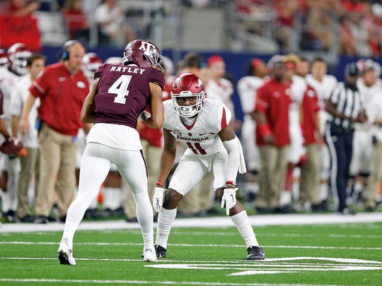 Ryan Pulley (11)   of the Arkansas Razorbacks  in their 45-21 loss to the Texas A&M Aggies in the Southwest Classic college football game at AT&T Stadium in Arlington, Texas.