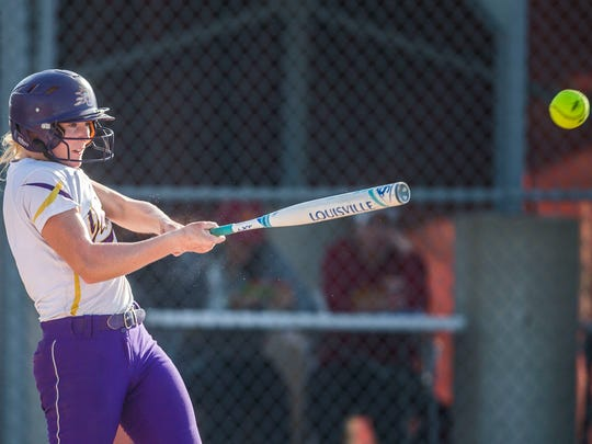 Johnston's Emily Flint at bat during the state softball quarterfinal between West Des Moines Valley and Johnston on Tuesday, July 17, 2018, at the Rogers Sports Complex in Fort Dodge.