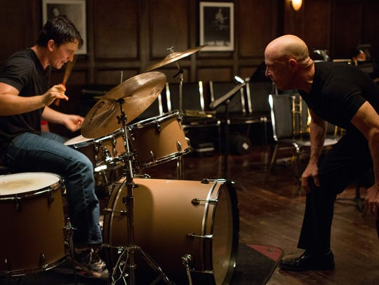 Miles Teller, left, and J.K. Simmons in a scene from