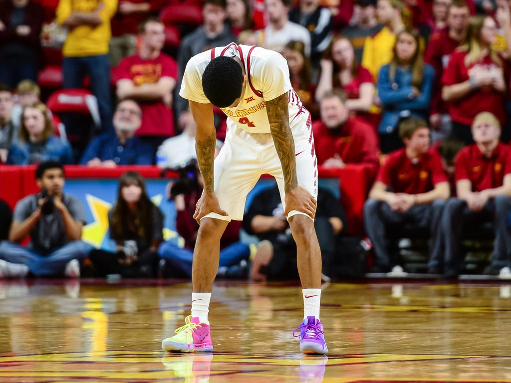Iowa State Cyclones guard Donovan Jackson reacts near the end of the second half against the Oklahoma State Cowboys at James H. Hilton Coliseum in Ames, Iowa.