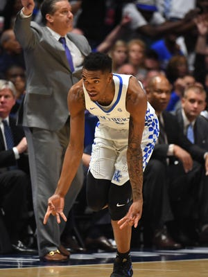 Kentucky Wildcats guard Malik Monk (5) celebrates after a three pointer during the second half against the Arkansas Razorbacks during the SEC Conference Tournament at Bridgestone Arena.