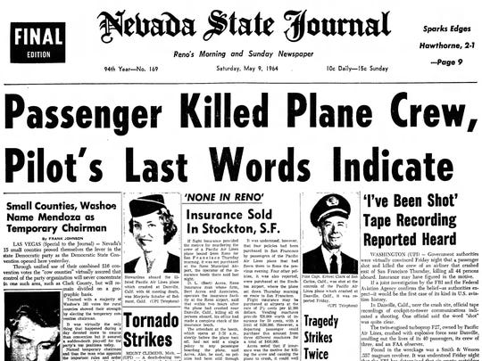 The front page of the Saturday, May 9, 1964 edition of the Nevada State Journal.