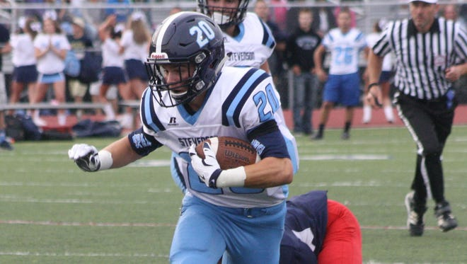 Frank Carlin, pictured during a game earlier this season, scored one of Stevenson's six touchdown's Friday night.