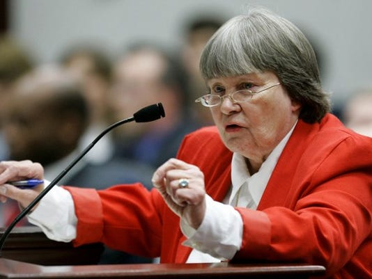Marion Hammer, lobbyist for the National Rifle Association, speaks in favor of the guns at work bill during a meeting of the House environment and natural resources council, Wednesday, April 18, 2007, in Tallahassee, Fla. The bill was defeated by the council. (AP Photo/Phil Coale)